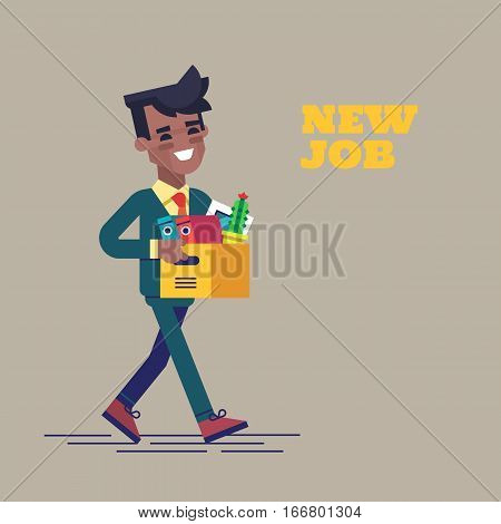 Successful smiling young black man going to the new job with box. Welcome to the new job business concept. New job vector illustration in flat design.