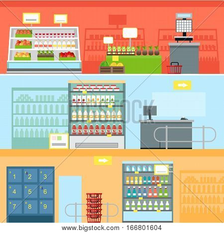 Supermarkets and grocery stores. Retail shop for buy product on shelf, purchase and department food, sale and cart with variety food, interior hypermarket section marketplace. Vector illustration