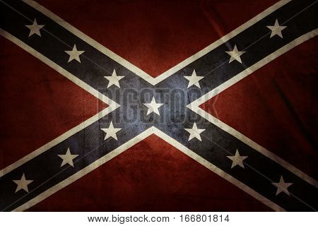 Closeup of grungy Confederate flag