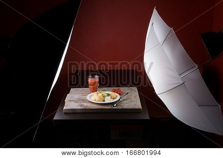 Photography set prepared for food photo shoot