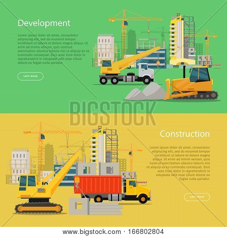 Construction development web banner. Building process. House building in flat style. Building of residential banner with equipment crane, truck, materials. Big building area. Vector illustration