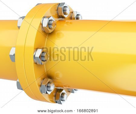 Flanges pipe with nuts and bolts. Pipeline for gas industry. 3d illustration isolated on white background.