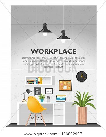 Creative office interior in loft space with concrete wall. Modern cozy workspace with white table, laptop, desk lamp, book shelf, folders, plants, cork board clock etc. Vector illustration.