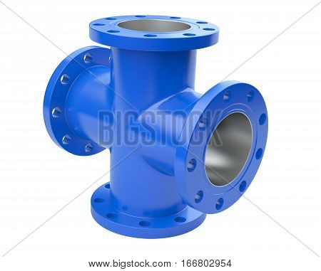 Blue flanged tube for connection industrial equipment. 3d illustration isolated on a white background.