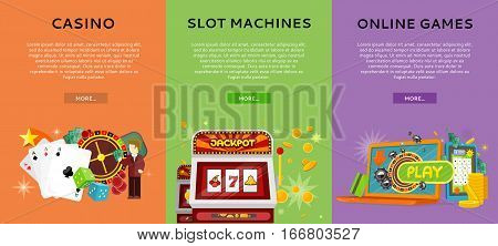 Casino, slot machines and online games banners. European roulette wheel, chips, croupier, craps dice, slot machine and playing cards on color background. Banner for online casino. Casino background