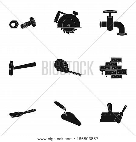 Build and repair set icons in black design. Big collection of build and repair vector symbol stock illustration