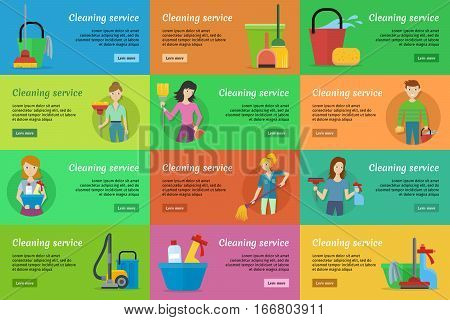 Set of cleaning service banners. Man and woman with cleaning equipment and detergent. House cleaning service, professional office cleaning, home cleaning illustration. Horizontal website template