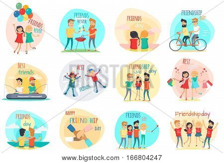 Friendship. Best friend forever. International friends. Celebration happy friends day. Positive emotions. True friend. Friend s shopping, riding on bicycle, fishing, picnic, party Flat design Vector