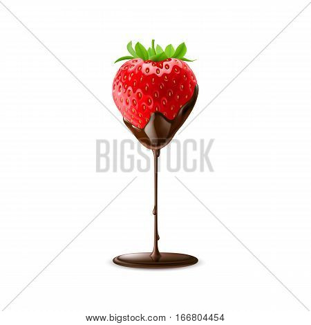 Strawberry in Chocolate Trickle Isolated on White Background