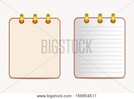 Icon of notebook red color in two variants. Tear-off notepad on the rings with lines and without them.  Vector icon in flat style on the white background. Square. Isolated.