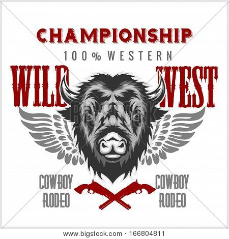Wild west rodeo - bison head, vintage vector artwork for boy wear. Retro emblem on white background.