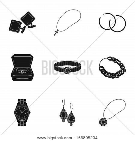 Jewelry and accessories set icons in black design. Big collection of jewelry and accessories vector symbol stock illustration