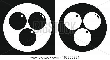 Ping pong ball icon. Silhouette ping pong ball on a black and white background. Sports Equipment. Vector Illustration