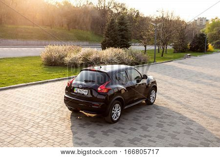 DNIPRO UKRAINE - APRIL 12 2016: NISSAN JUKE IN CITY