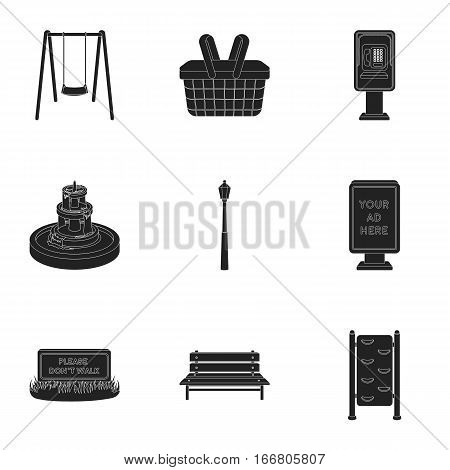 Park set icons in black style. Big collection of park vector symbol stock