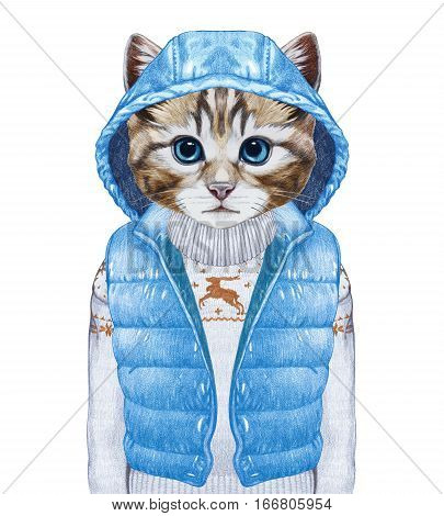 Animals as a human. Cat  in down vest and sweater. Hand-drawn illustration, digitally colored.