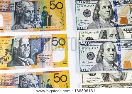Close up view of US Dollar and Australian Aussie Dollar indicating strong currency exchange rate
