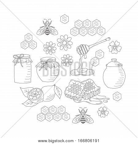 Vector honey set with honeybee, jar, honeycomb and dipper stick, isolated on white background. Hand drawn doodle style illustration.