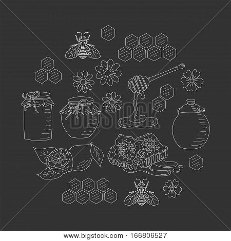 Vector honey set with honeybee, jar, honeycomb and dipper stick, isolated on black background. Hand drawn doodle style illustration.