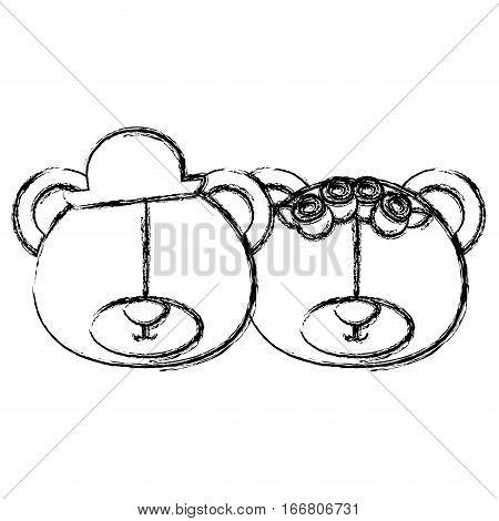 monochrome blurr contour with faces couple of bears without eyes vector illustration