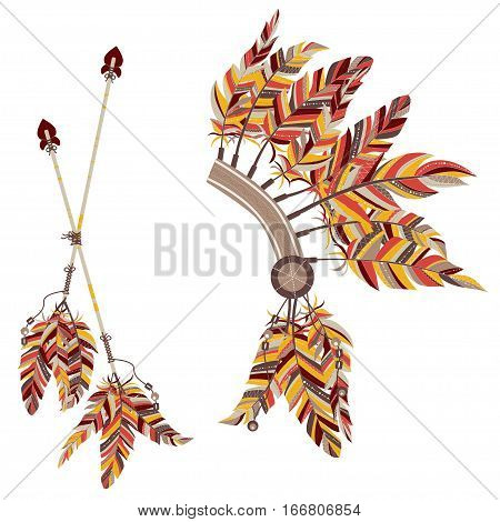 Headdress Indians And Two Arrows With Feathers On A White Background.