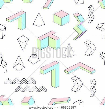 1980s-1990s Memphis style motifs. Retro design collection.