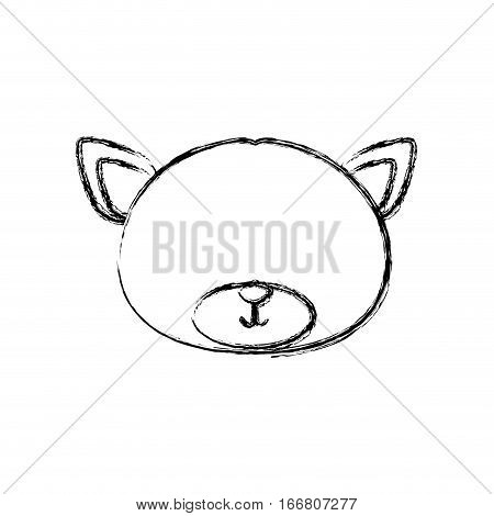 monochrome contour blurr with face of groom bear without eyes vector illustration