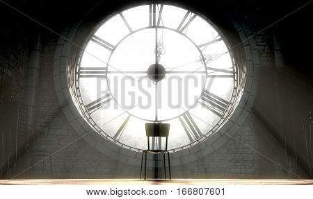 Antique Backlit Clock And Empty Chair