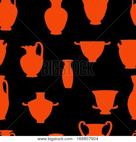 Red and black greek traditional vases seamless pattern, vector background