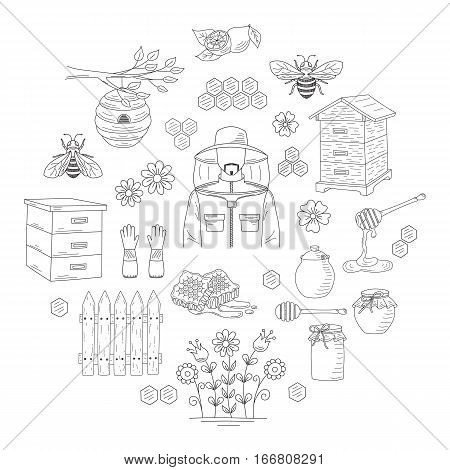 Vector honey collection with beekeeping elements bee, beehive, beekeeper, honeycomb, nest, jar and dipper stick isolated on white background. Hand drawn, doodle style illustration.