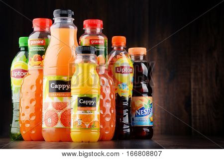 POZNAN POLAND - JAN 18 2017: Fruit juice consumption overall in Europe Australia New Zealand and the US has increased in recent years due to their perceived health benefits.