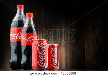POZNAN POLAND - JAN 18 2017: Coca-Cola is a carbonated soft drink manufactured by The Coca-Cola Company headquartered in Atlanta Georgia USA