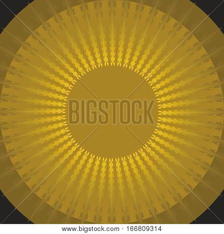 Mystic sun shape on black background. Gold sun. Phantasy sun. Circle yellow aura. Vector stylized sun.