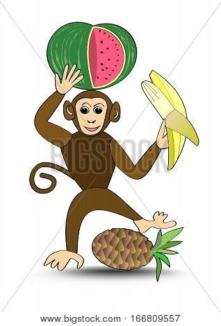 Funny brown monkey with pineapple and banana monkey cartoon useful as advertising for sale of fruit isolated chimpanzee on white background