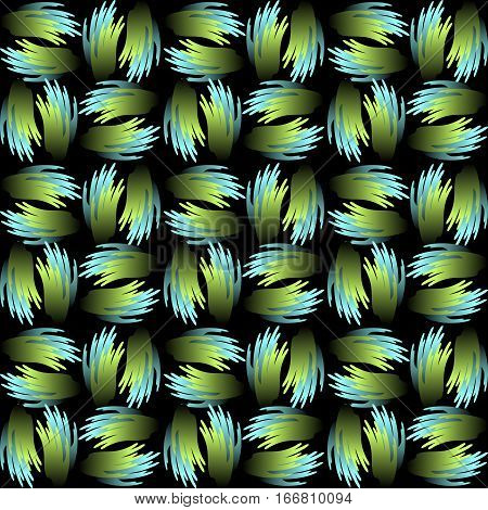 Seamless vector background with green and blue abstract patterns in metallic feather shape. Contrasting gradient ornament on black background