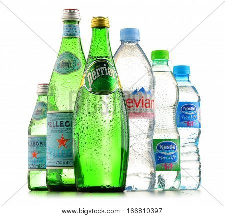 POZNAN POLAND - JAN 18 2017: Global bottled water sales have increased dramatically over the past decades. It is estimated that around 200 billion bottles are consumed yearly all over the world