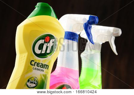 POZNAN POLAND - JAN 19 2017: Cif is a brand of household cleaning products manufactured by Unilever a British-Dutch multinational consumer goods company.