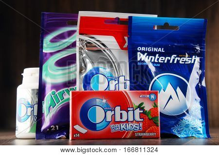 POZNAN POLAND - JAN 19 2017: Flagship products of Wrigley Company the largest manufacturer and marketer of chewing gum in the world headquartered in Chicago Illinois USA