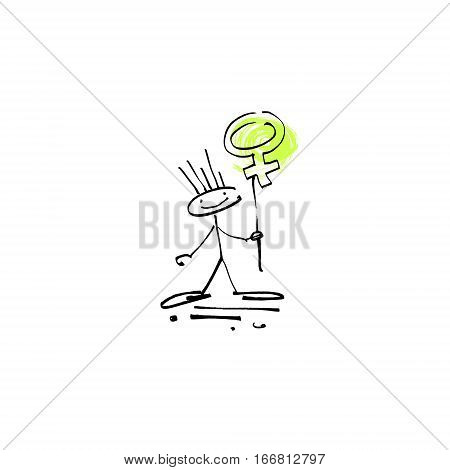 hand drawing sketch human smile stick figure with feminine sign, unique simple icon doodle cute miniature, vector illustration