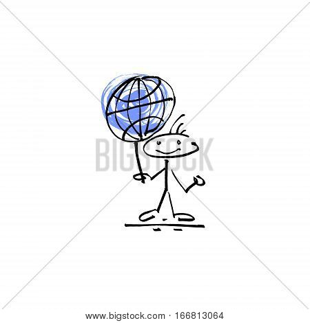 hand drawing sketch human smile stick figure globe sign, unique simple icon doodle cute miniature, vector illustration