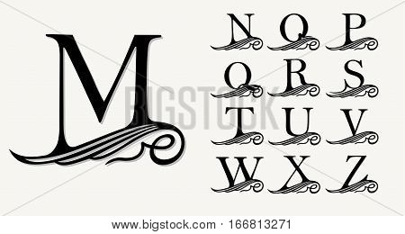 Vintage Set 2. Calligraphic capital letters with curls for Monograms, Emblems and Logos. Beautiful Filigree Font. Is at Conceptual wing or waves . Baroque style poster