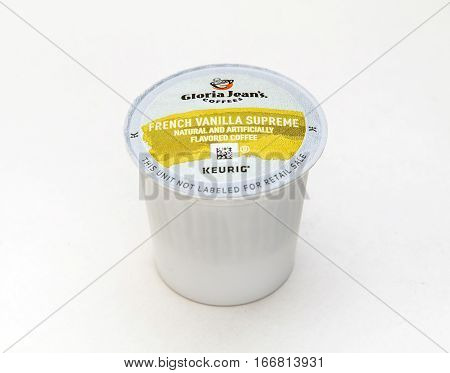 New York, January 5, 2017: A single french vanilla flavored coffee capsule for Keurig coffee machine by Gloria Jean's is seen against white background.