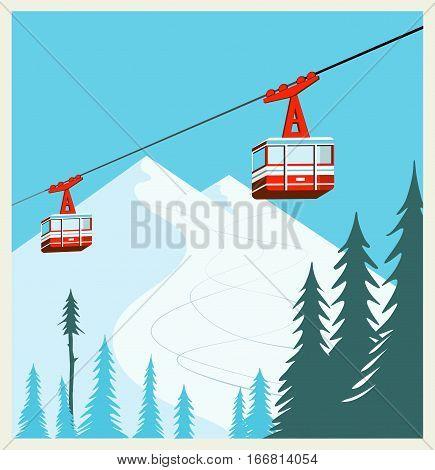 Vintage Winter cartoon background, poster. Red ski Lift Gondolas moving in Snow Mountains
