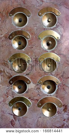 beautiful vintage buttons bells in a residential building in Venice