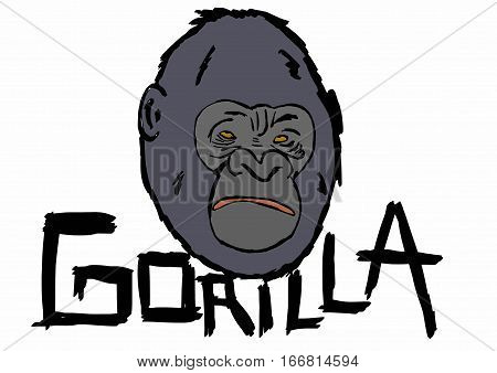Image of a Gorilla head with text