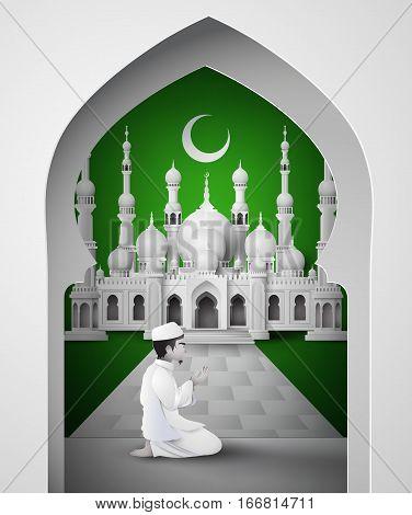 Ramadan Kareem with Muslim man. Paper art style.