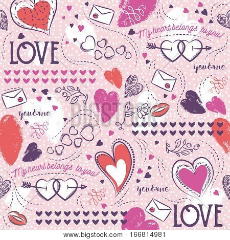 Pink seamless patterned background with red and blue valentine heart and wishes text vector illustration. Ideal for printing onto fabric and paper or scrap booking.