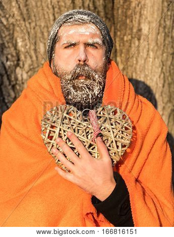 Man In Blanket With Heart