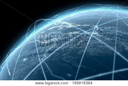 Planet With Illuminated Light Trails