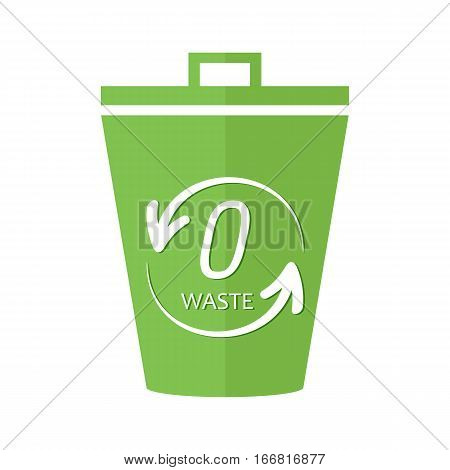 Green bucket, trash, garbage can with zero waste sign, symbol isolated on white background.